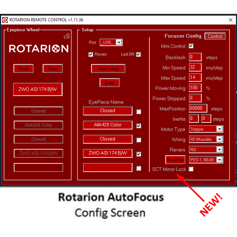 Rotarion Remote Control Config Screen with SCT Mirror-Lock