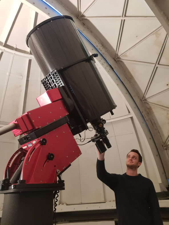 Dr Taylor with new Rotarion and Rotarion CAM kit at Observatory